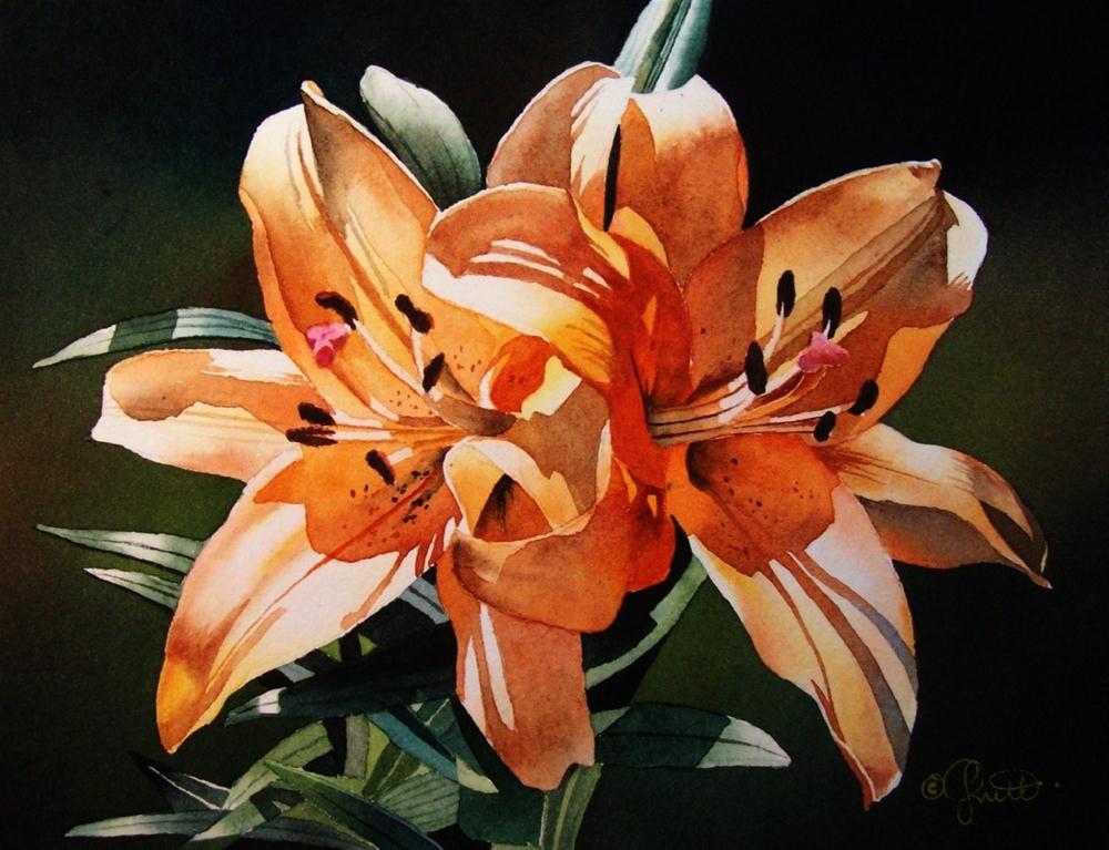 """Double Scoop ~ Orange Sherbert"" original fine art by Jacqueline Gnott, TWSA, WHS"