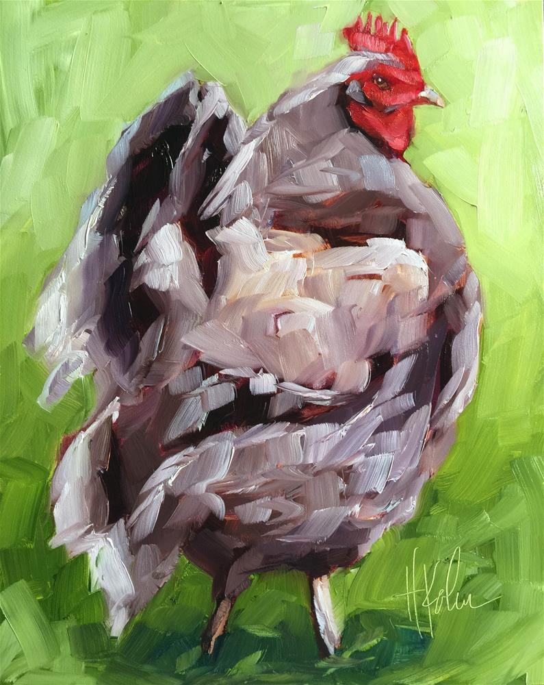 """""""Demure Hen"""" original fine art by Hallie Kohn"""
