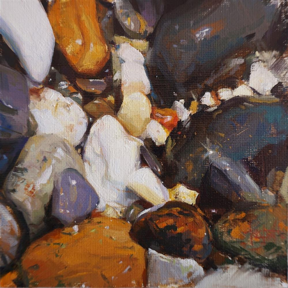 """Wet pebbles"" original fine art by Víctor Tristante"