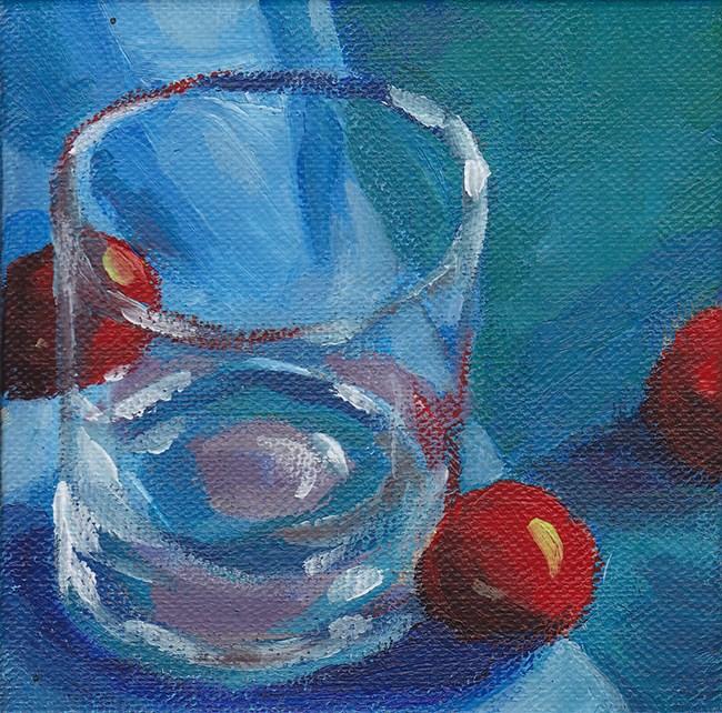 """Glass and Cherry Tomatoes"" original fine art by J M Needham"