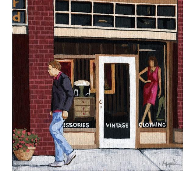 """People Walking City Street Scene original painting by Linda Apple"" original fine art by Linda Apple"