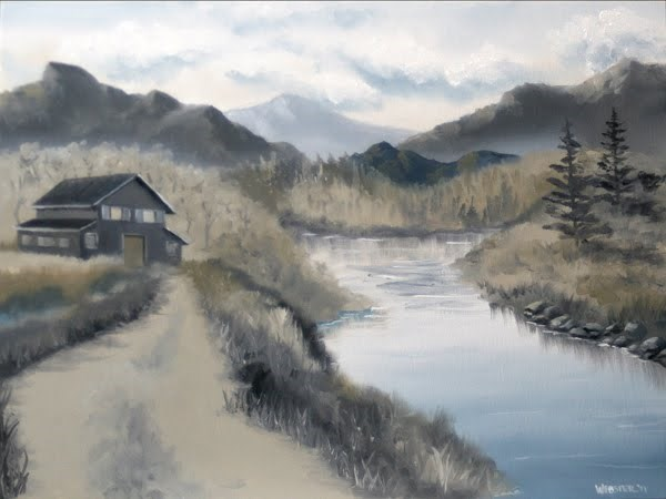 """Mark Webster - Mountain Landscape Grayscale Oil Painting"" original fine art by Mark Webster"
