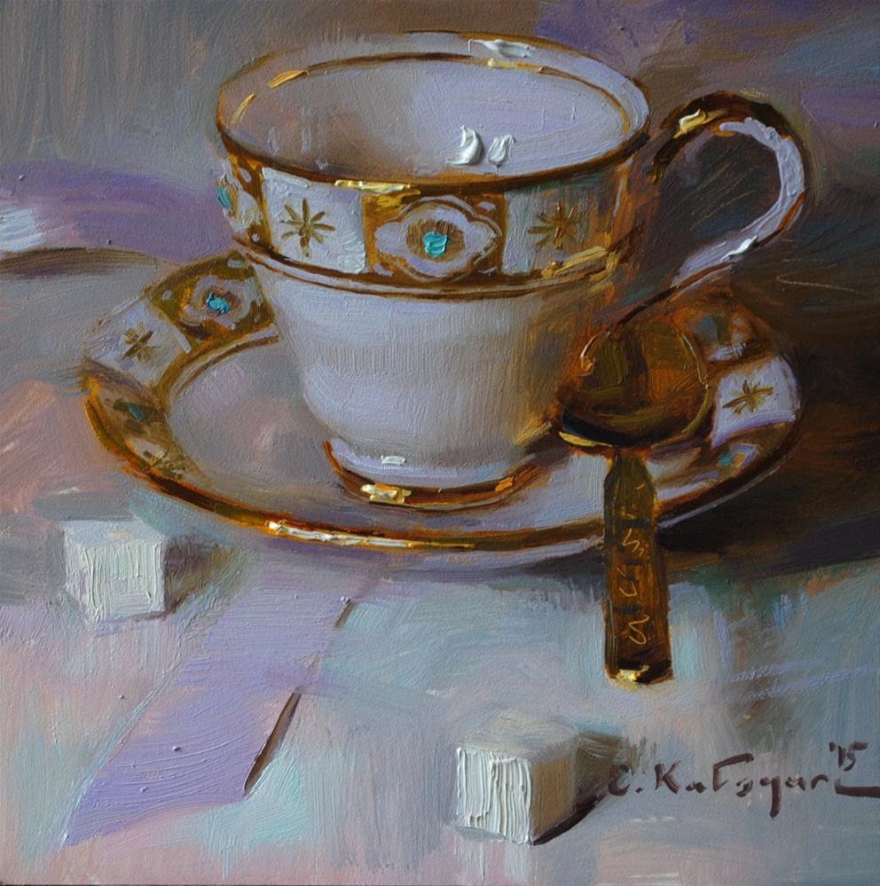 """Golden Cup and Sugar"" original fine art by Elena Katsyura"