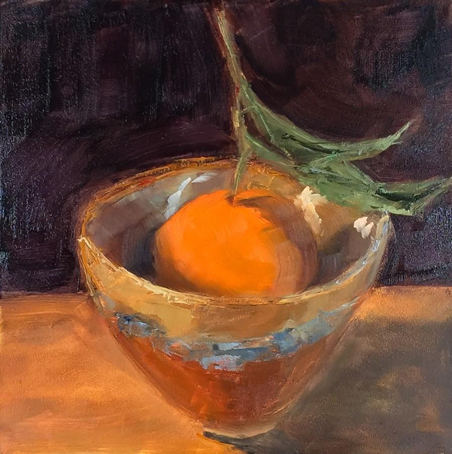 """""""#103 - Mandarin in Bowl"""" original fine art by Sara Gray"""