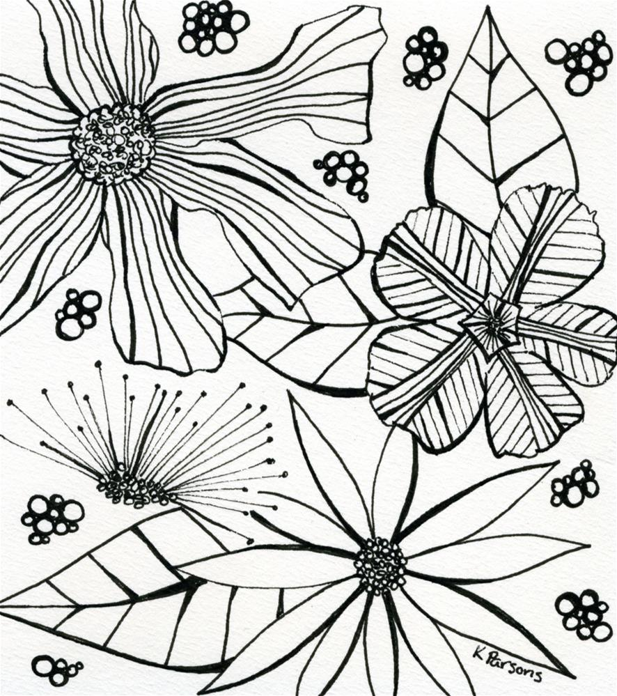 """Black and White Bouquet"" original fine art by Kali Parsons"