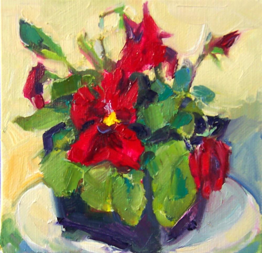 """Red Pansy,still life,oil on canvas,6x6,price$200"" original fine art by Joy Olney"