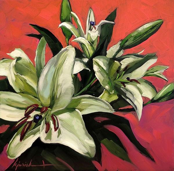 """""""Easter Lilies"""" original fine art by Karin Jurick"""
