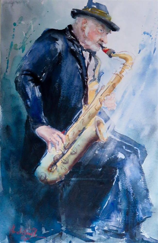 """Street Musician"" original fine art by Christa Friedl"