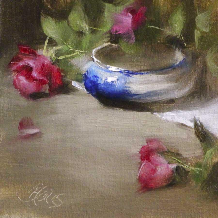 """Knockout Roses and Flow Blue"" original fine art by Pamela Blaies"
