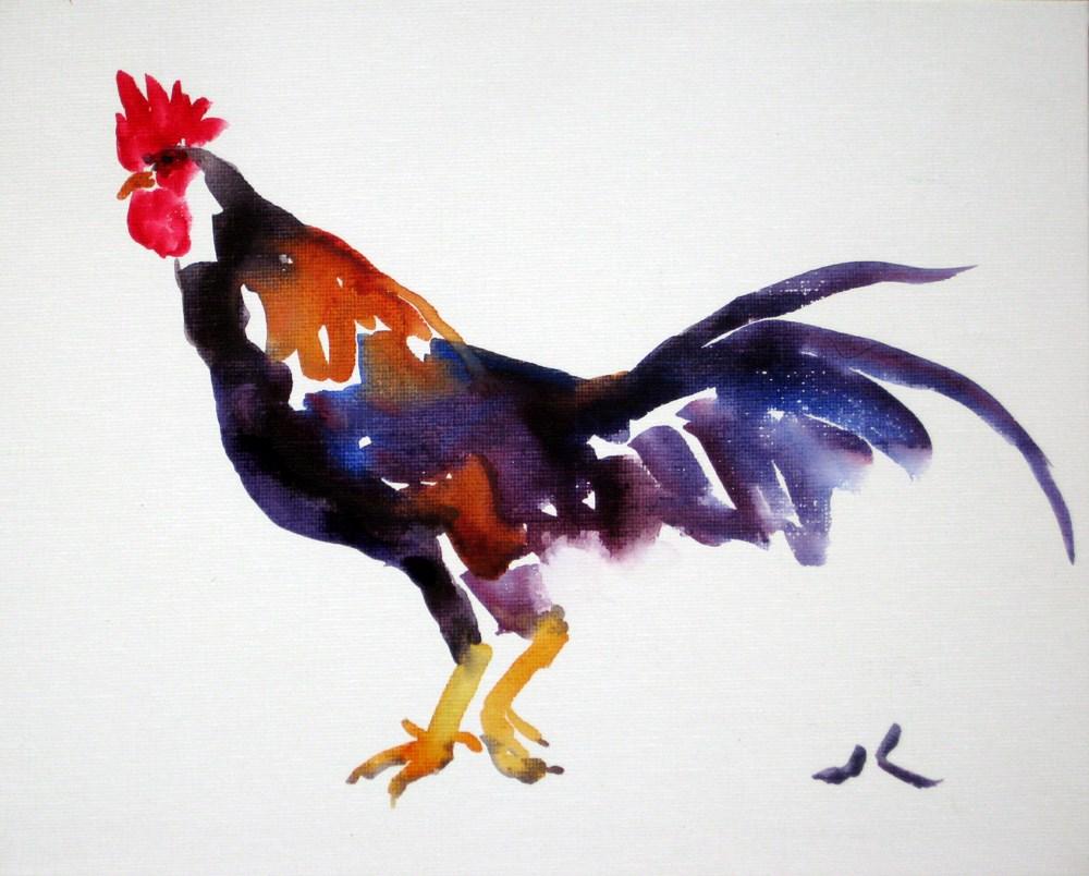 """""""Rooster"""" original fine art by Julia Lu"""