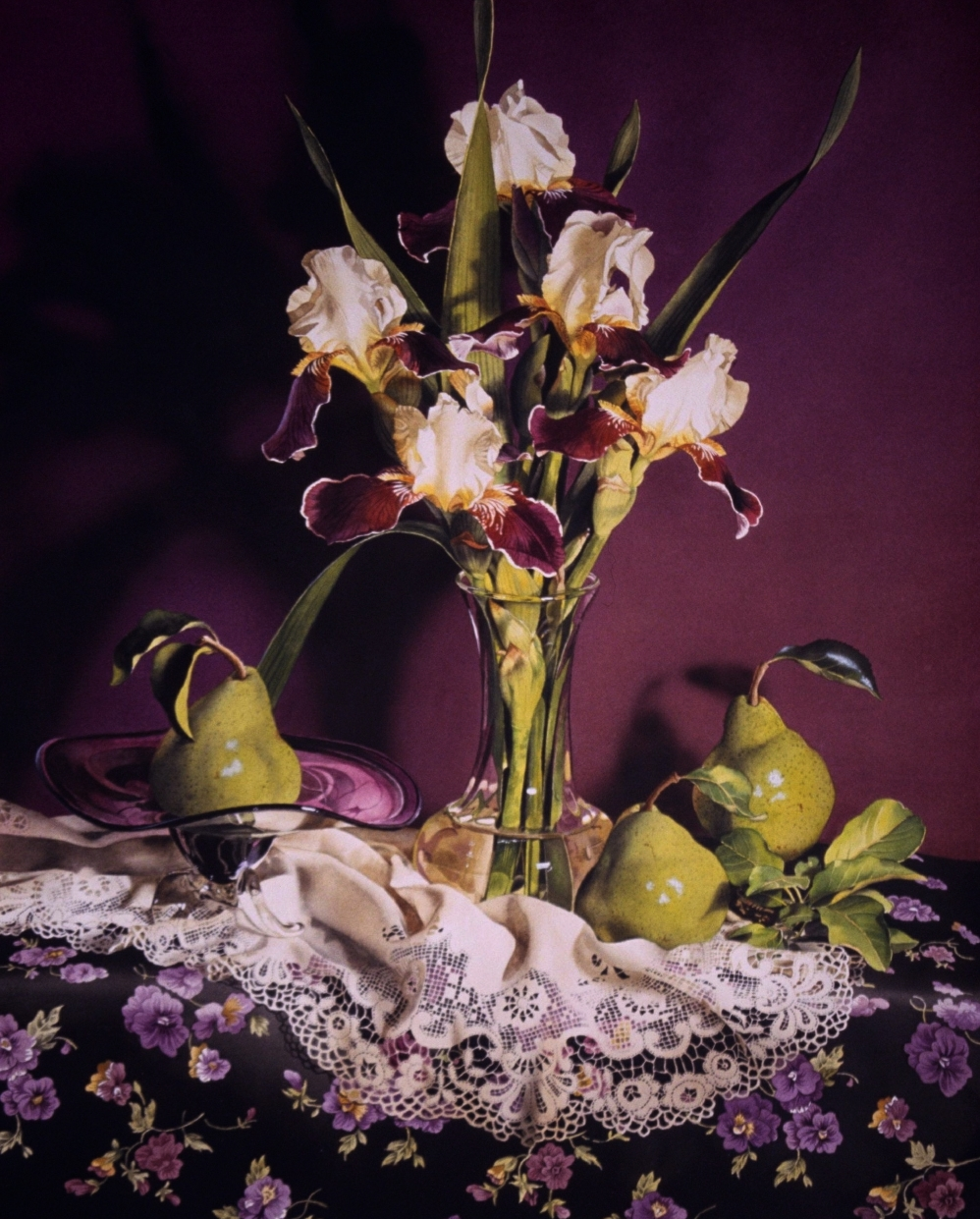 """""""Still Life with Irises & Pears"""" original fine art by Jacqueline Gnott, TWSA, WHS"""