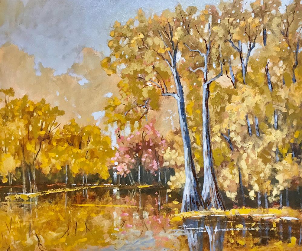 """Fall on the River"" original fine art by Linda Blondheim"