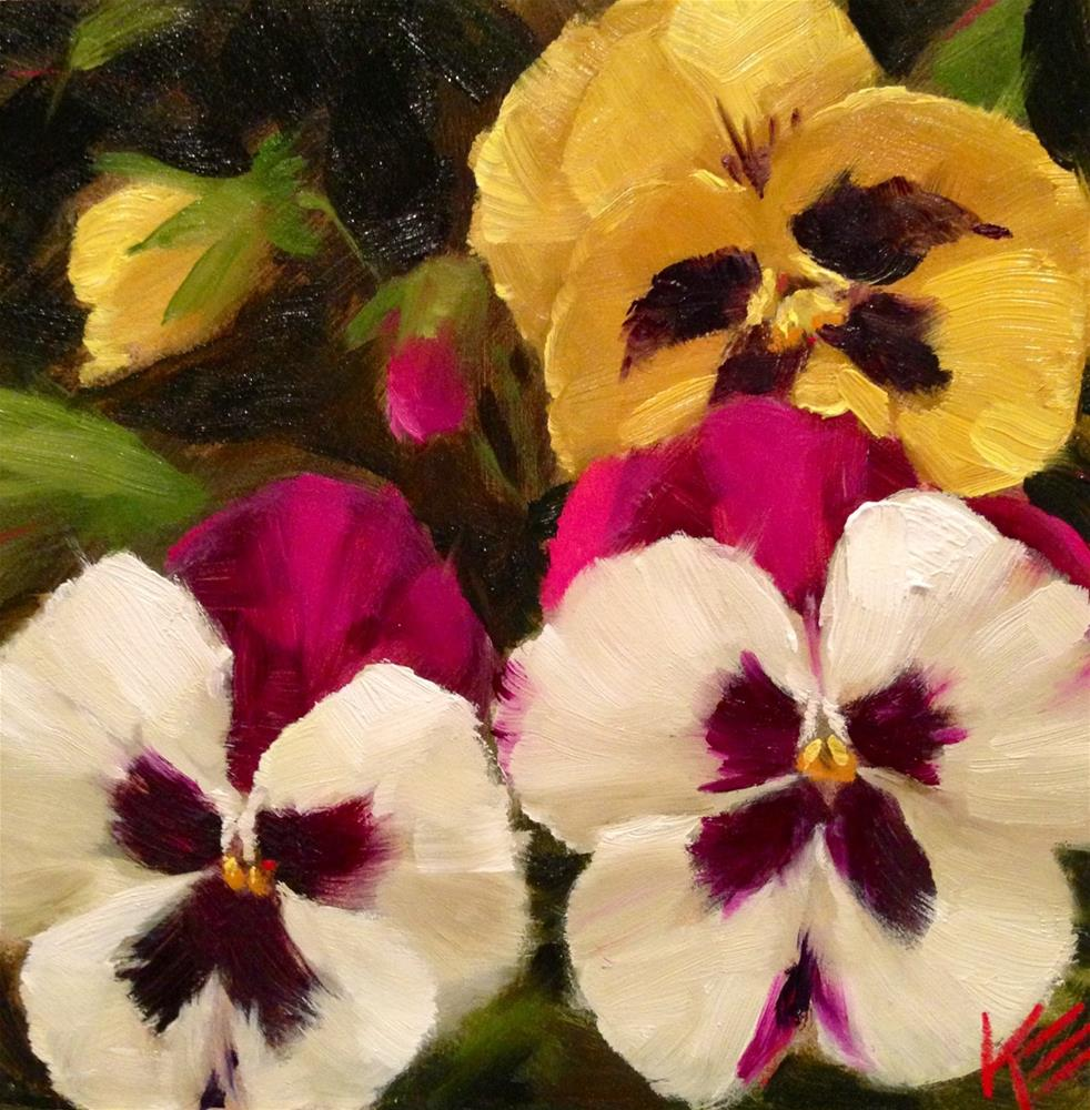 """Pansies"" original fine art by Krista Eaton"