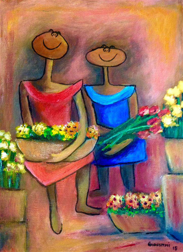 """""""Two sisters selling flowers"""" original fine art by Giovanni Antunez"""