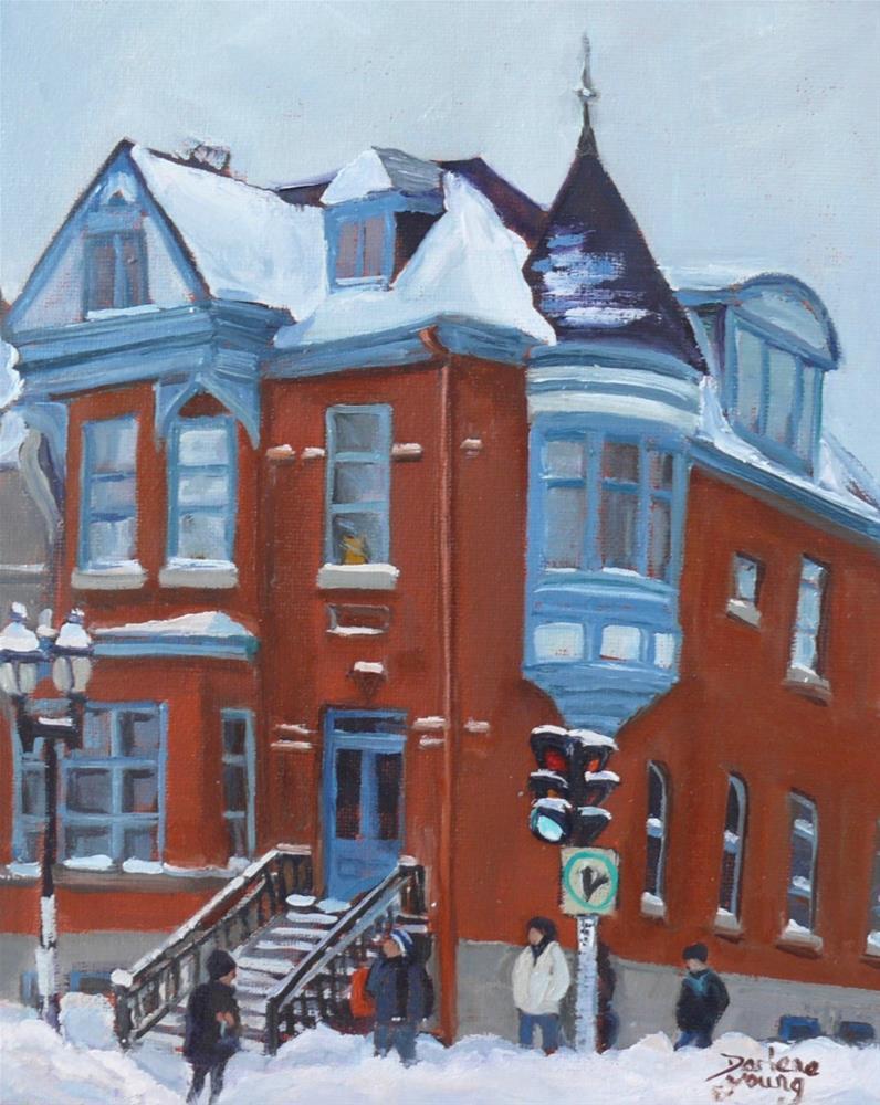 """""""1034 Montreal Scene, McGill Ghetto, 8x10, oil on board"""" original fine art by Darlene Young"""