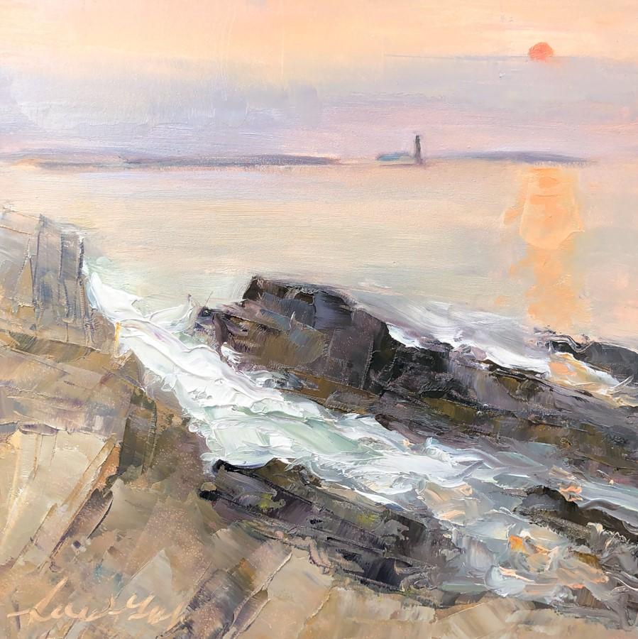 """#131 - Hazy Sunsrise - Fort Williams - Maine"" original fine art by Sara Gray"