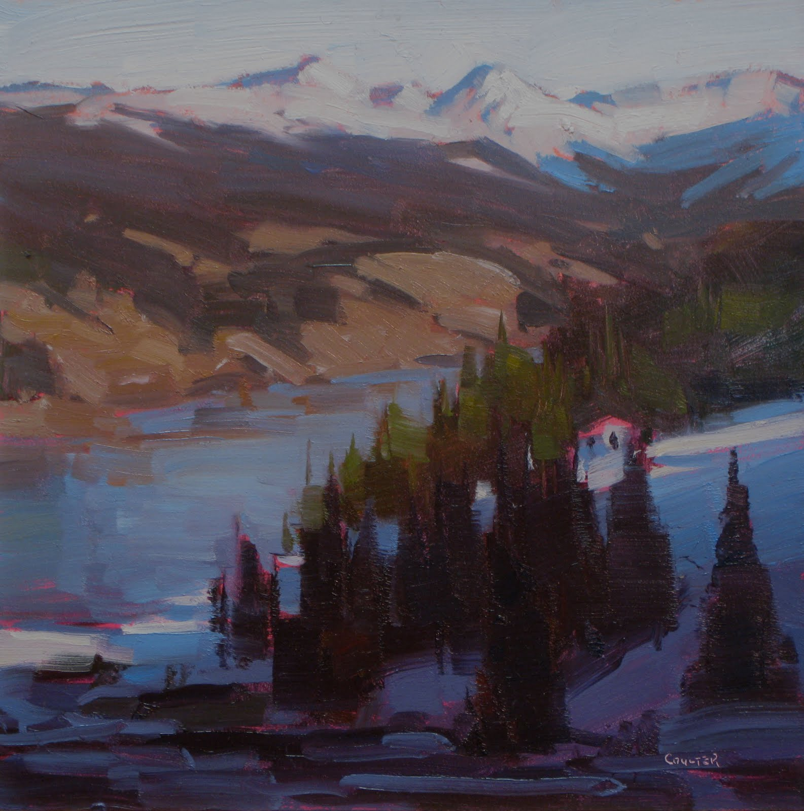 """SUNSET TROUT LAKE"" original fine art by James Coulter"