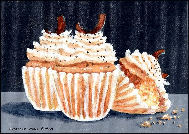 """""""Whipped Cream and Chocolate Chip Cupcakes"""" original fine art by Patricia Ann Rizzo"""