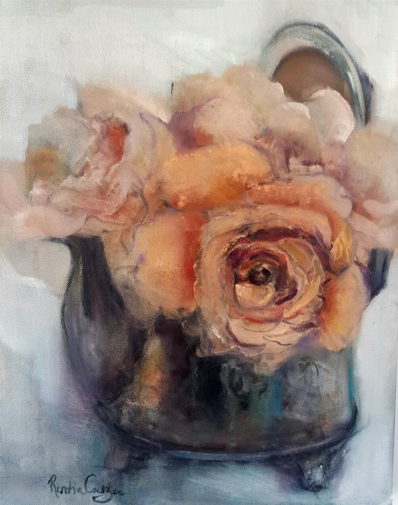 """Vintage for tea"" original fine art by Rentia Coetzee"