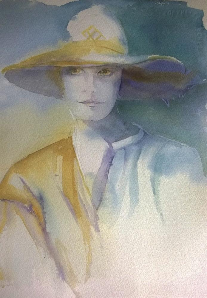 """woman with hat"" original fine art by Crisynda Buss"