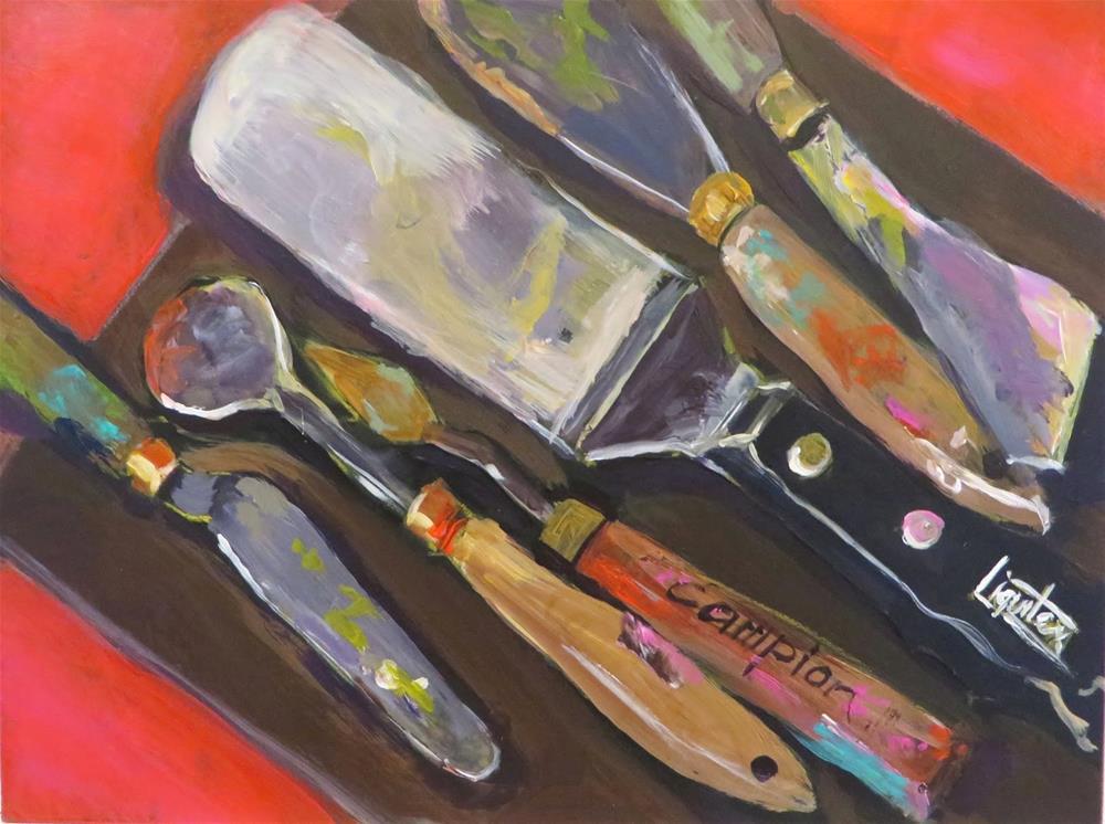 """531 Palette Knives on an Ampersand Hardbord"" original fine art by Diane Campion"
