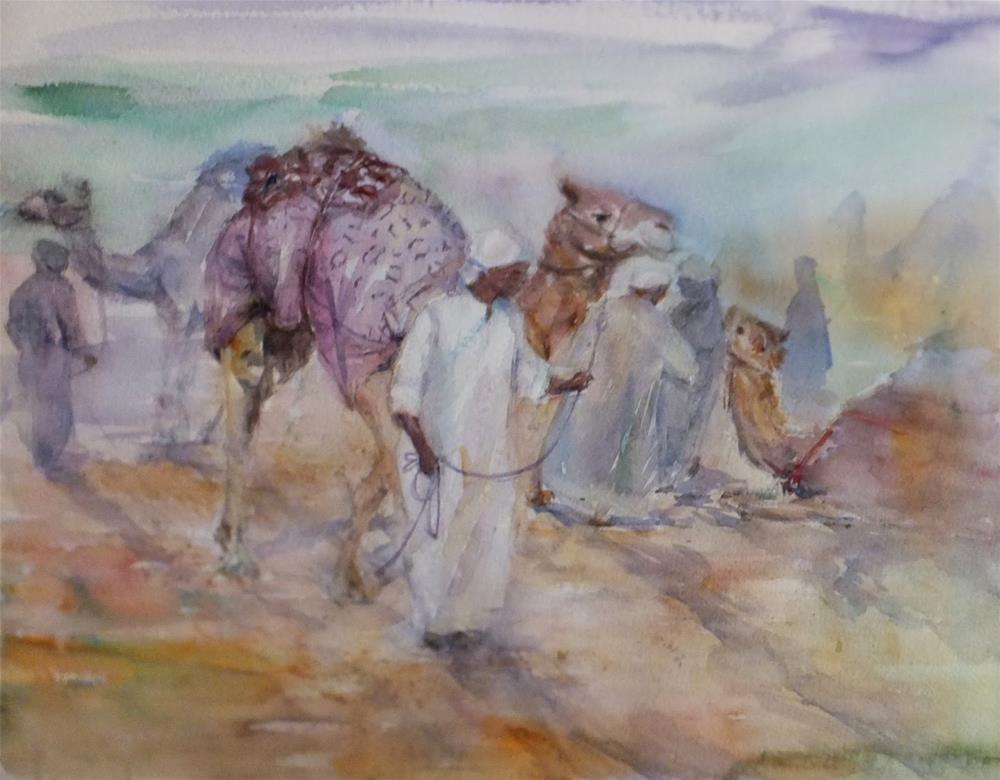 """Al Ain Camel racetrack"" original fine art by Midori Yoshino"