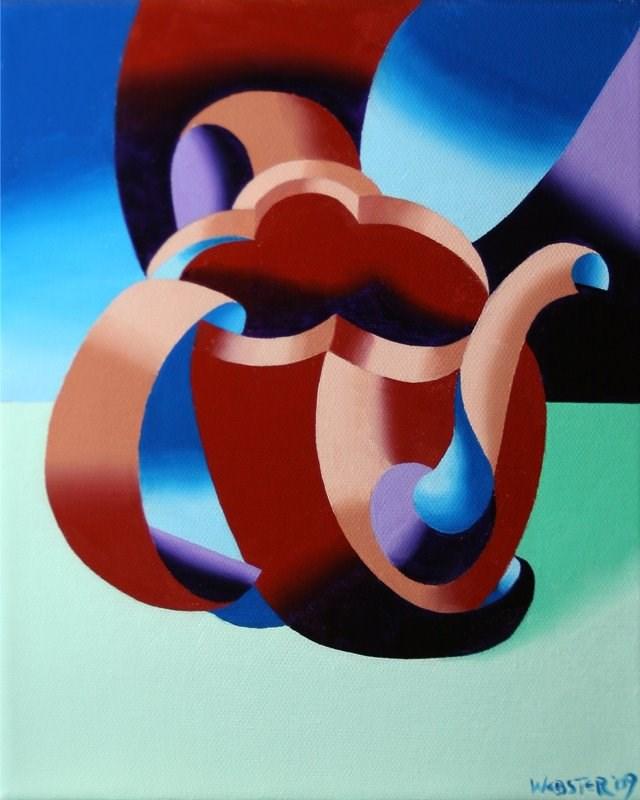 """Mark Webster - Futurist Abstract Teapot Oil Painting"" original fine art by Mark Webster"