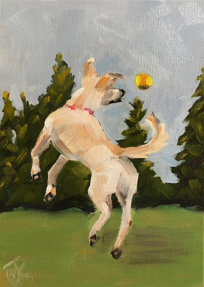 """""""Playing Catch With My BFF"""" original fine art by Bobbie Cook"""