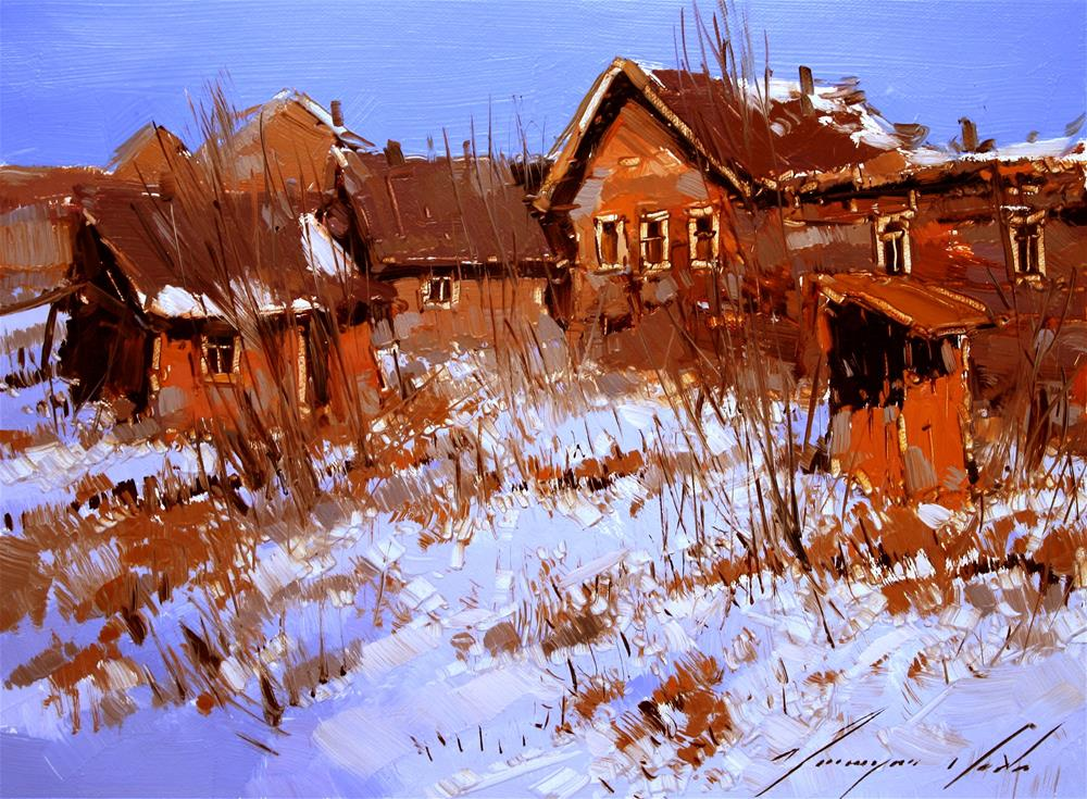 """""""VILLAGE SNOW COVERED OIL PAINTING ONE OF A KIND"""" original fine art by V Y"""