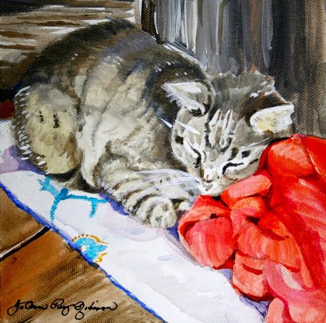 """Cat Nap"" original fine art by JoAnne Perez Robinson"