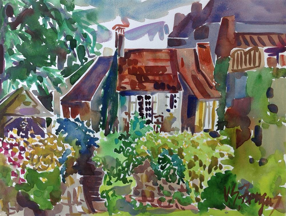 """""""The House With White Shutters"""" original fine art by Virginia Fergus"""