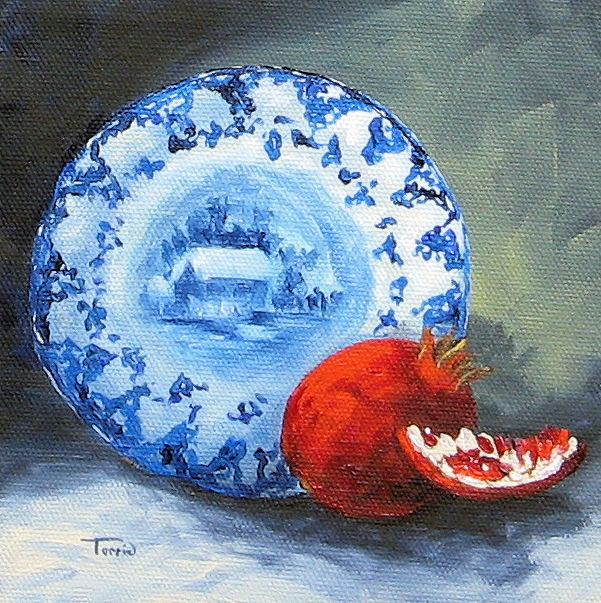 """""""Flow Blue and Pomegranate"""" original fine art by Torrie Smiley"""
