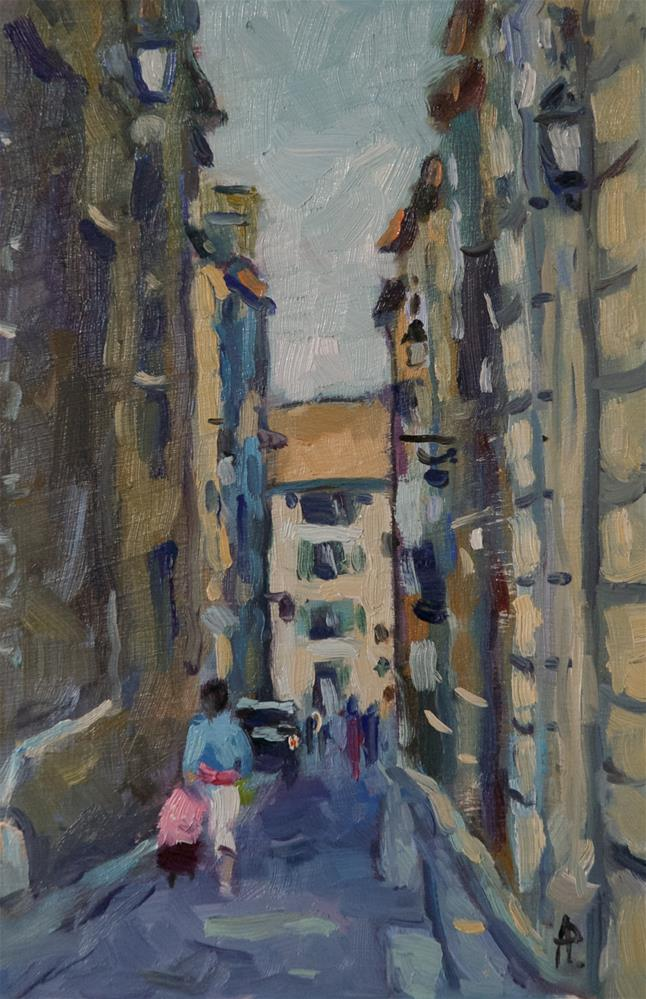 """""""Shopping in Arles"""" original fine art by Andre Pallat"""