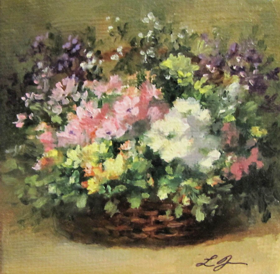 """Basket of Flowers"" original fine art by Linda Jacobus"