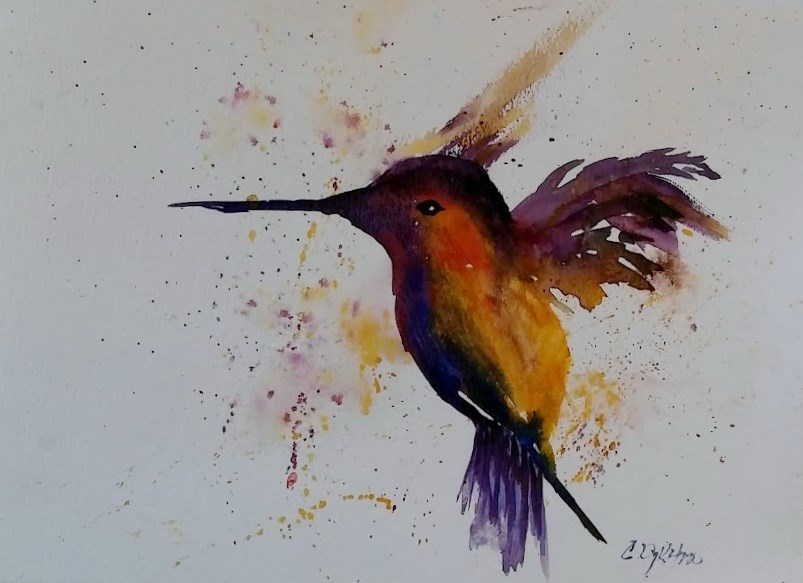 """My Hummingbird"" original fine art by Cathy Dykstra"