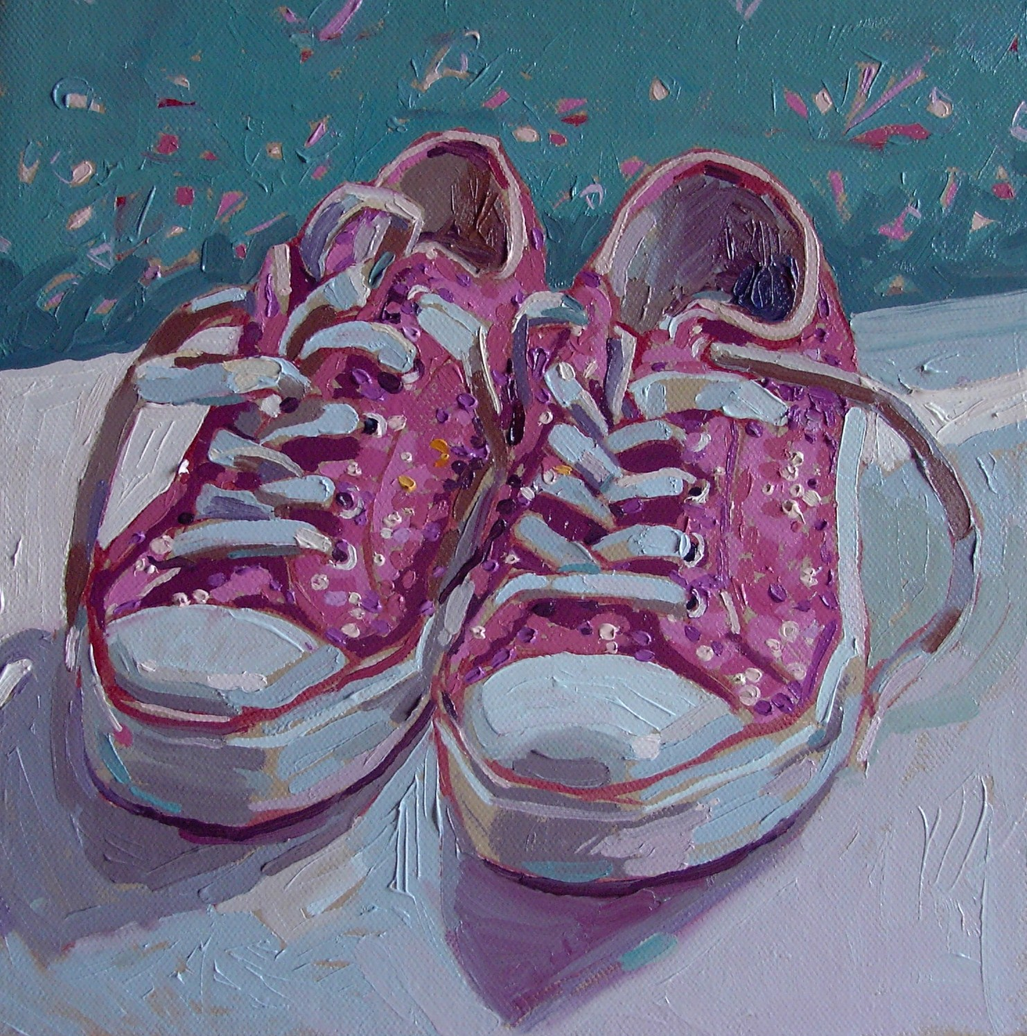 """""""Pink sparkly shoes"""" original fine art by Haidee-Jo Summers ROI"""