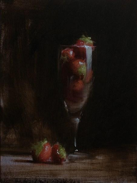"""Flute of Strawberries"" original fine art by Neil Carroll"
