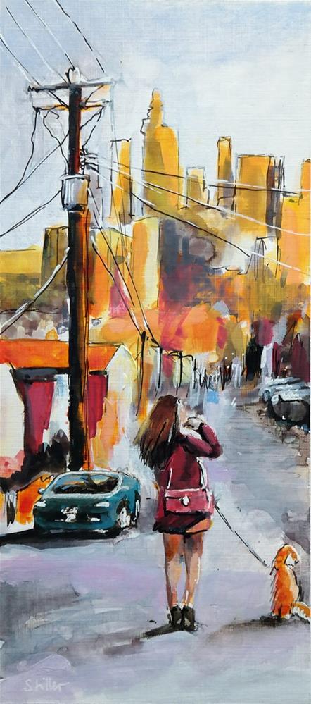 """2790 Walk the Pooch"" original fine art by Dietmar Stiller"