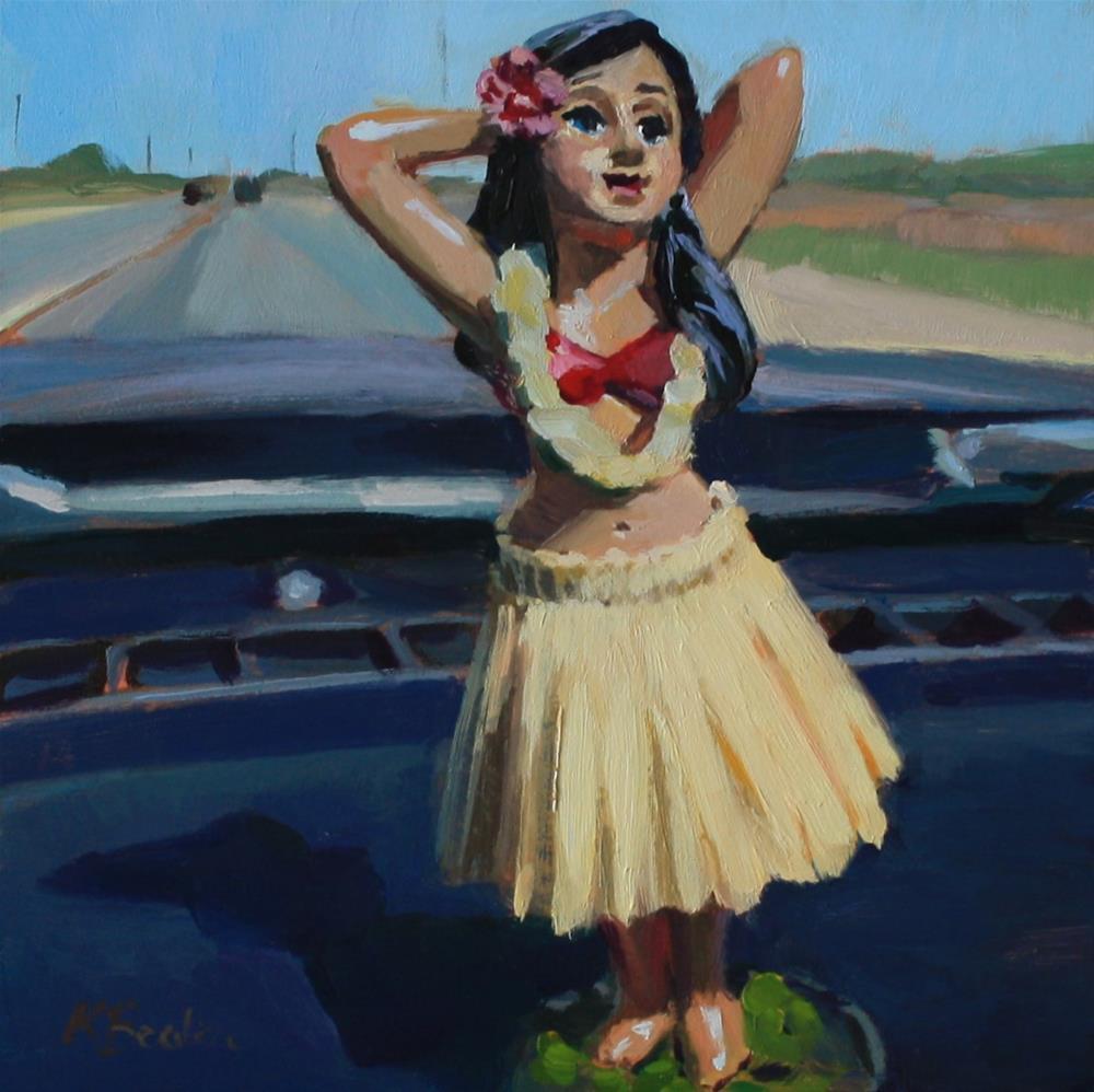 """Dashboard Hula Girl 2"" original fine art by Kaethe Bealer"