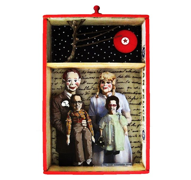 """FAMILY mixed media collage antique cigar shadow box original art"" original fine art by Linda Apple"