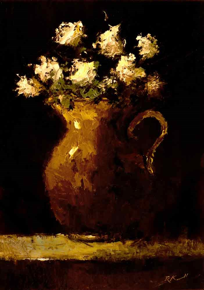 """""""Flowers in a Pitcher"""" original fine art by Bob Kimball"""