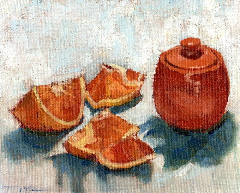 """""""Orange Slices and Jar"""" original fine art by Marlene Lee"""