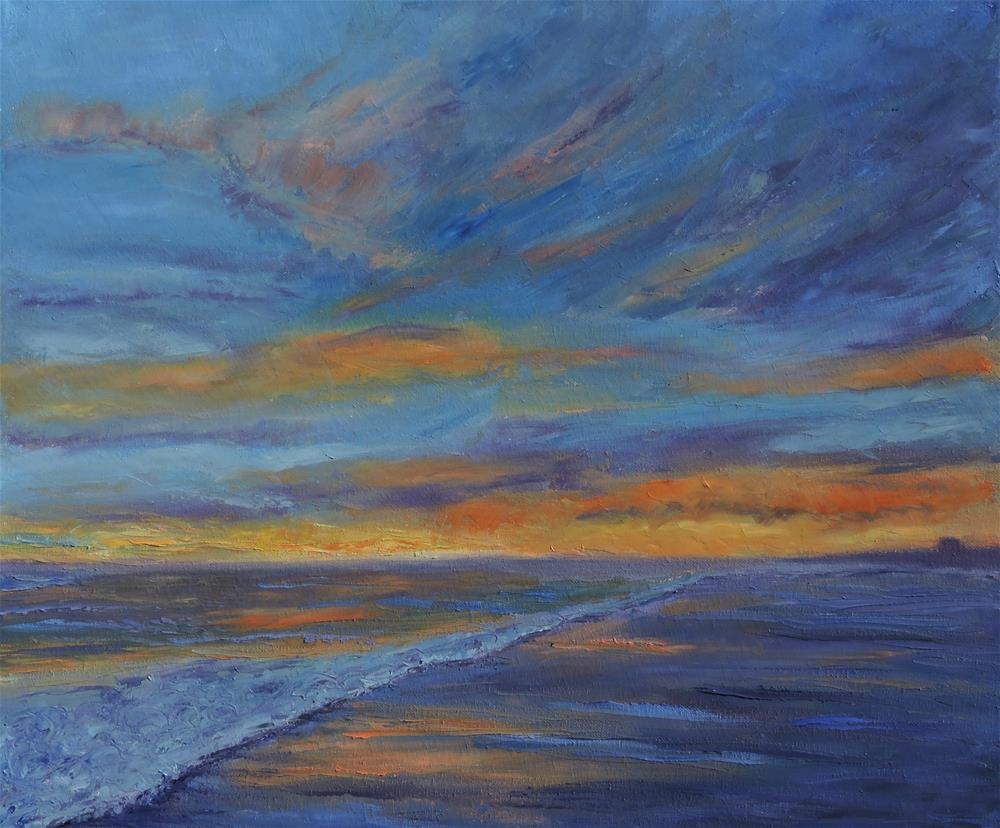 """Sunset over the Ocean"" original fine art by Linda mooney"