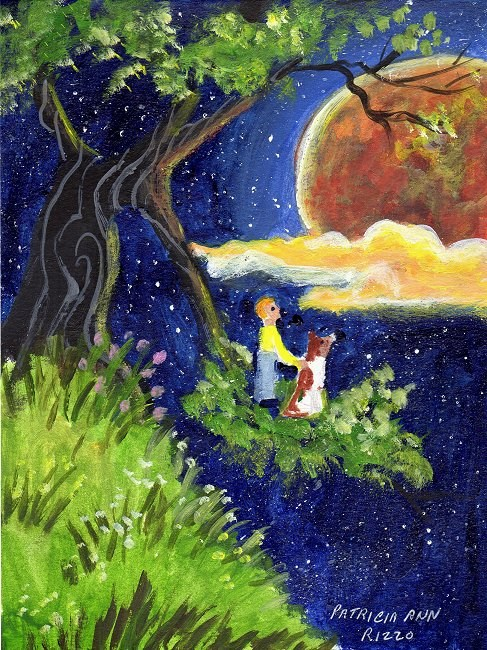 """""""The Night Mars Came for a Visit"""" original fine art by Patricia Ann Rizzo"""