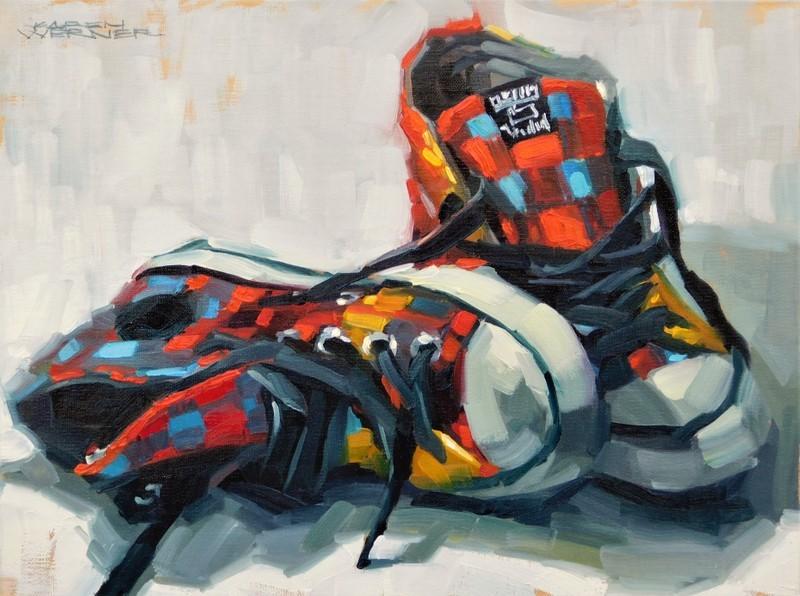 """""""Kicked Off Kicks"""" original fine art by Karen Werner"""