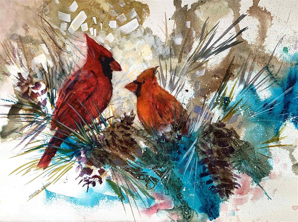 """Cardinals & Pinecones"" original fine art by Melissa Gannon"