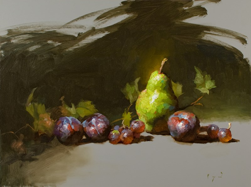 """Green Pear and Plums"" original fine art by Charles Young Walls"