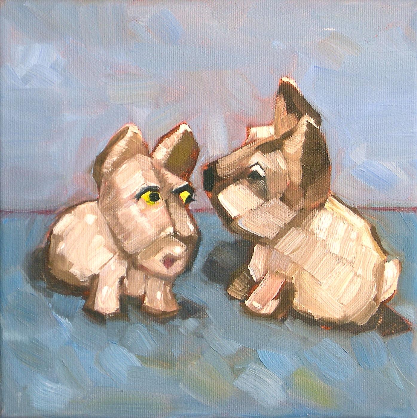 """""""Scottie Conversation"""" original fine art by Donna Walker"""