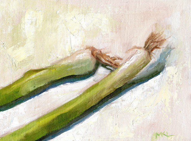 """Green Onions"" original fine art by Marlene Lee"