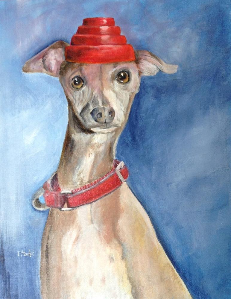 """11x14 Devo Dog Whippet Whippet Good Italian Greyhound Acrylic Penny StewArt"" original fine art by Penny Lee StewArt"